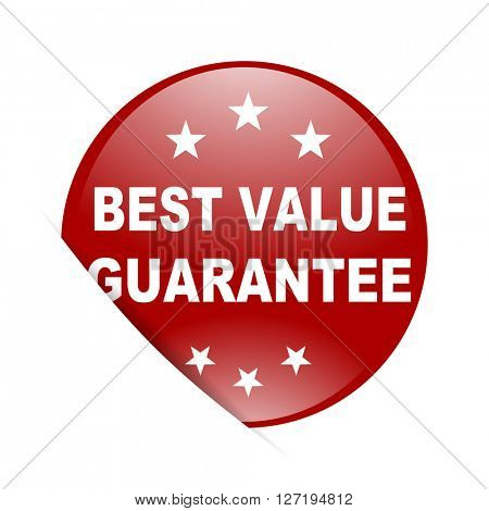 best value guarantee red circle glossy web icon