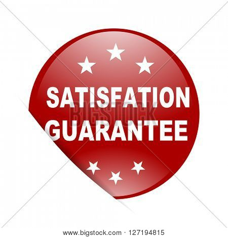 satisfaction guarantee red circle glossy web icon