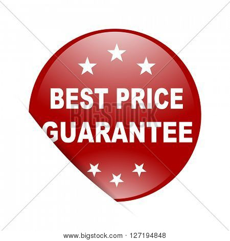 best price guarantee red circle glossy web icon
