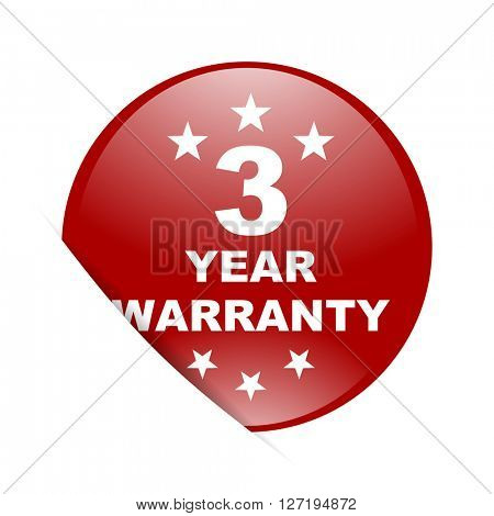 warranty guarantee 3 year red circle glossy web icon