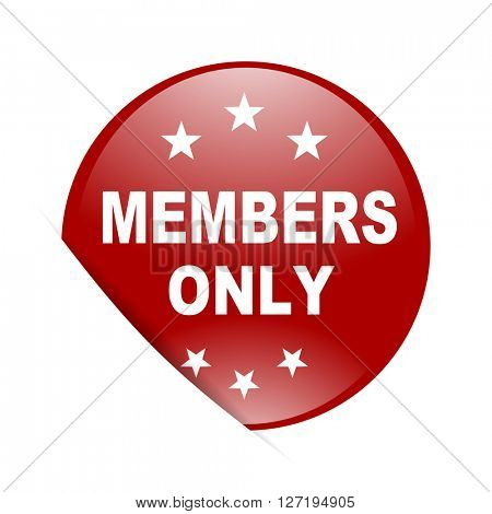 members only red circle glossy web icon