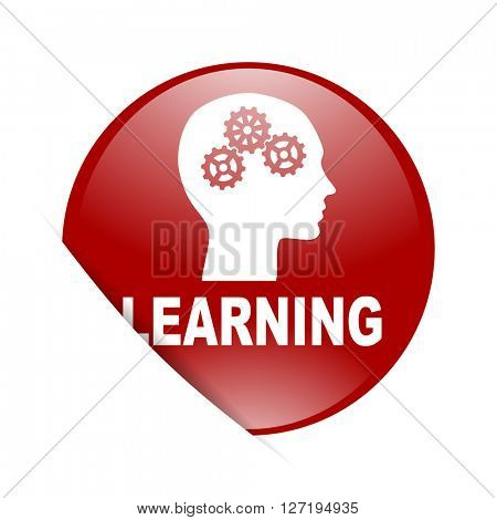 learning red circle glossy web icon