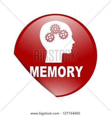 memory red circle glossy web icon