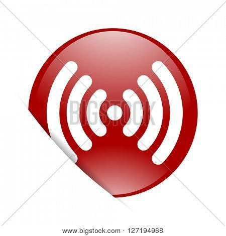 wifi red circle glossy web icon