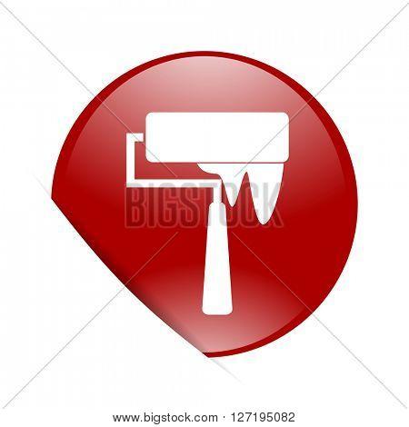 brush red circle glossy web icon