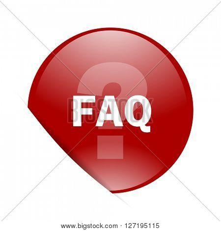 faq red circle glossy web icon