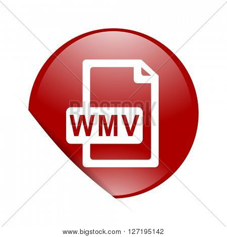 wmv file red circle glossy web icon
