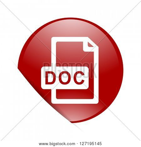 doc file red circle glossy web icon
