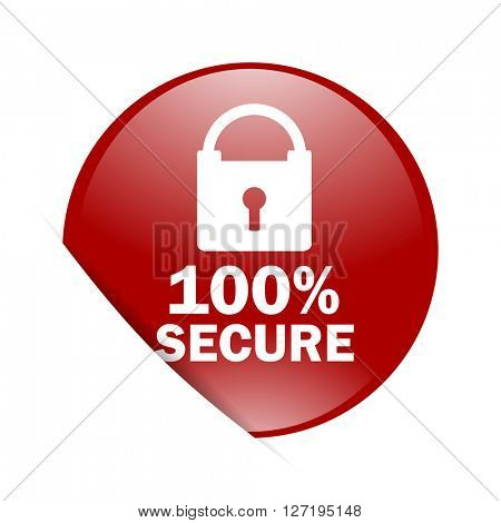 secure red circle glossy web icon