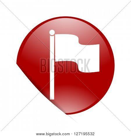 flag red circle glossy web icon