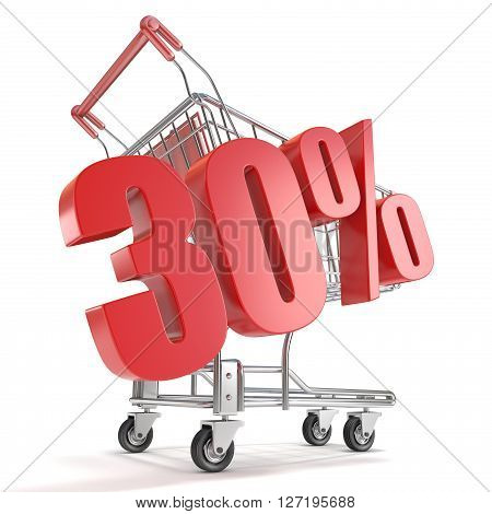 30% - thirty percent discount in front of shopping cart. Sale concept. 3D render illustration isolated on white background