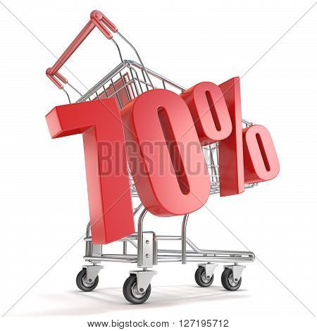 70% - seventy percent discount in front of shopping cart. Sale concept. 3D render illustration isolated on white background