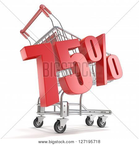 75% - seventy five percent discount in front of shopping cart. Sale concept. 3D render illustration isolated on white background