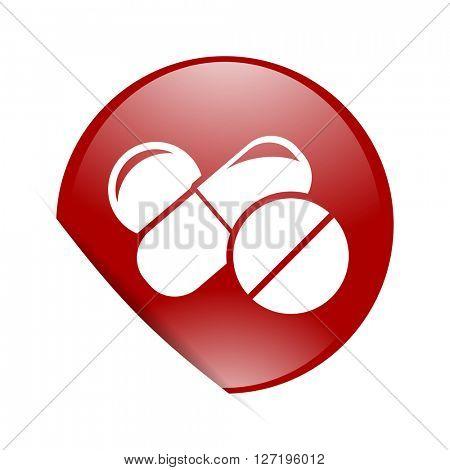medicine red circle glossy web icon