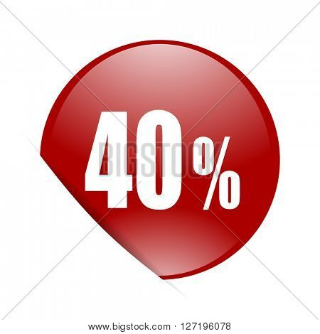 40 percent red circle glossy web icon