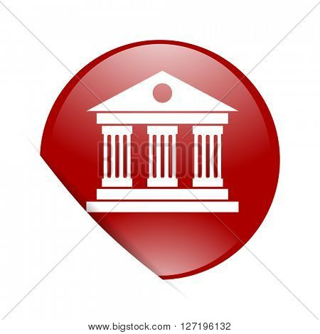 museum red circle glossy web icon