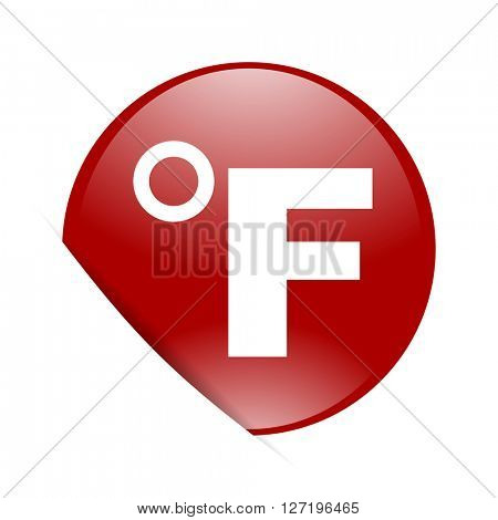 fahrenheit red circle glossy web icon