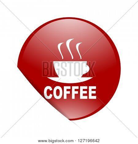 espresso red circle glossy web icon