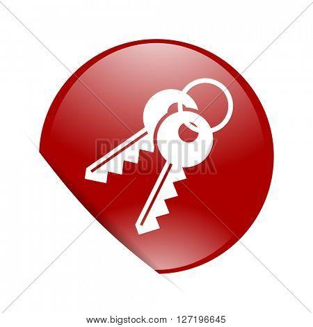 keys red circle glossy web icon