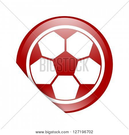 soccer red circle glossy web icon