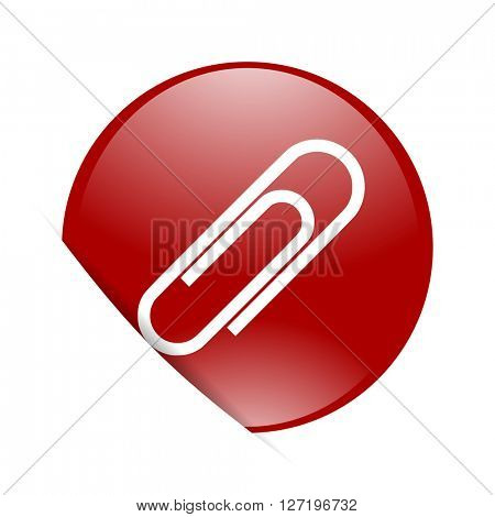 paperclip red circle glossy web icon