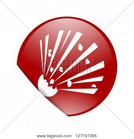 bomb red circle glossy web icon
