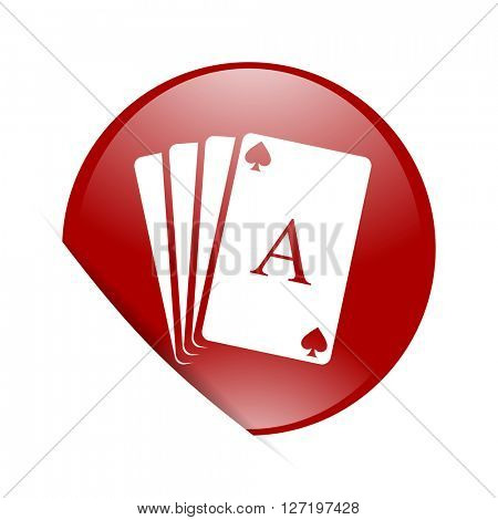 card red circle glossy web icon