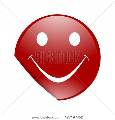 smile red circle glossy web icon