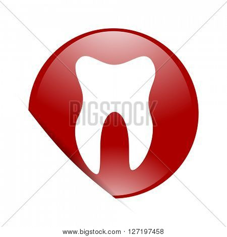 tooth red circle glossy web icon