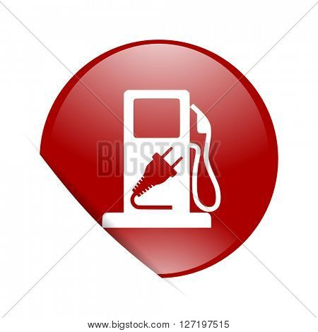 fuel red circle glossy web icon