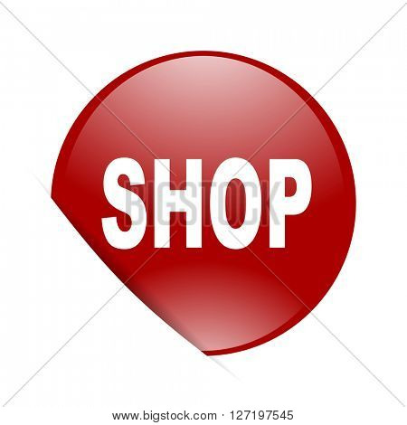 shop red circle glossy web icon
