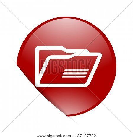 folder red circle glossy web icon