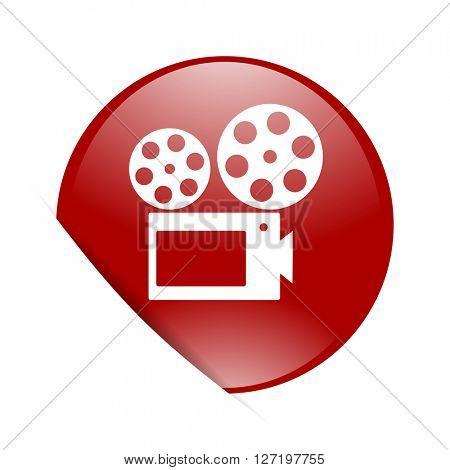 movie red circle glossy web icon