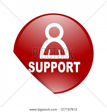 support red circle glossy web icon
