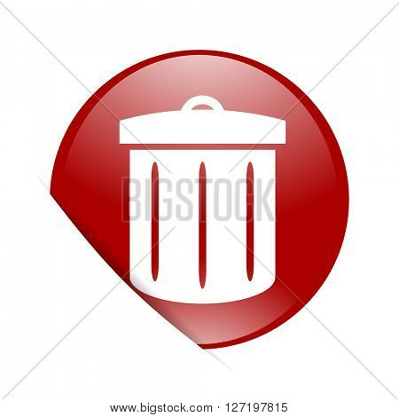 recycle red circle glossy web icon