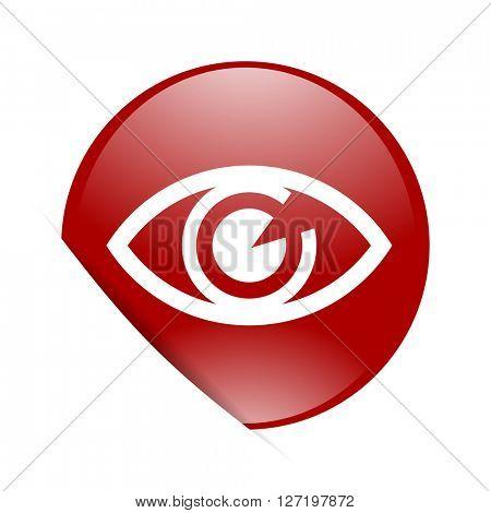 eye red circle glossy web icon