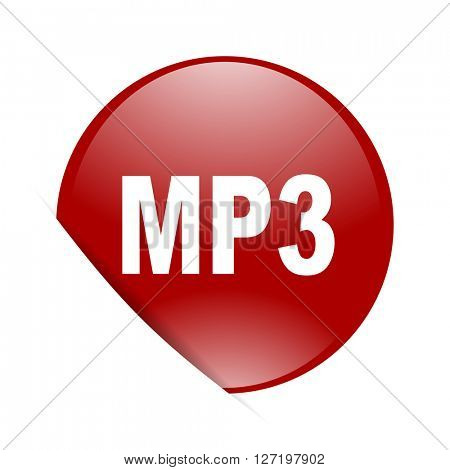 mp3 red circle glossy web icon