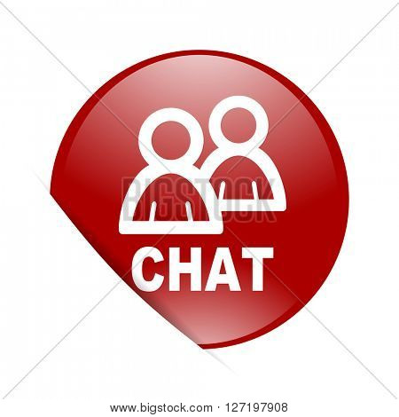 chat red circle glossy web icon