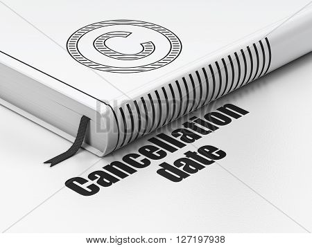 Law concept: closed book with Black Copyright icon and text Cancellation Date on floor, white background, 3D rendering