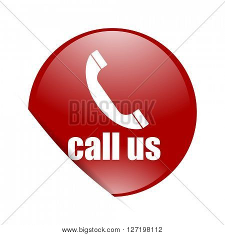 call us red circle glossy web icon