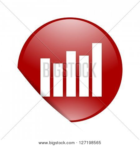 graph red circle glossy web icon