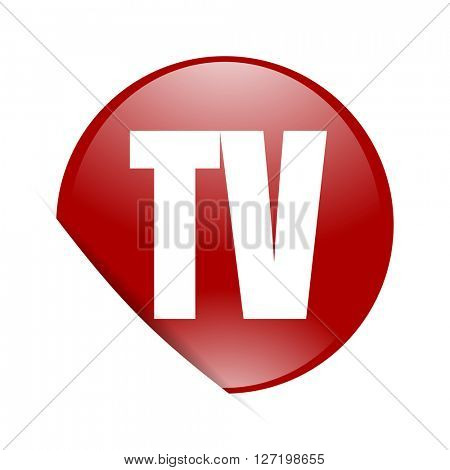 tv red circle glossy web icon