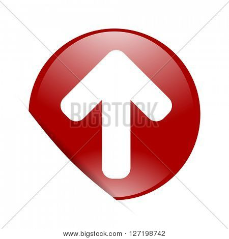 up arrow red circle glossy web icon