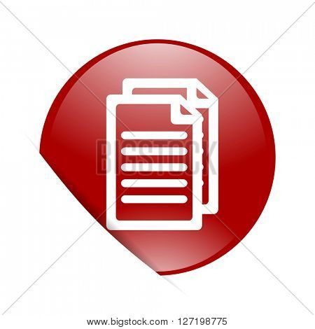 document red circle glossy web icon