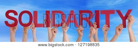 Many Caucasian People And Hands Holding Red Straight Letters Or Characters Building The English Word Solidarity On Blue Sky