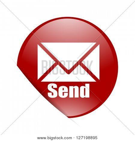 send red circle glossy web icon