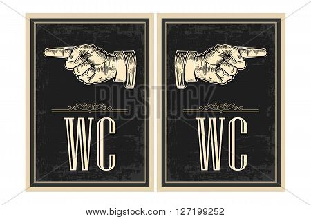 Pointing finger.  Vector vintage engraved illustration on a black background. Hand sign for web, poster, info graphic