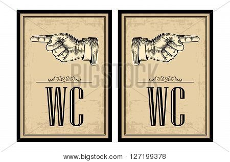 Pointing finger.  Vector vintage engraved illustration on a beige background. Hand sign for web, poster, info graphic