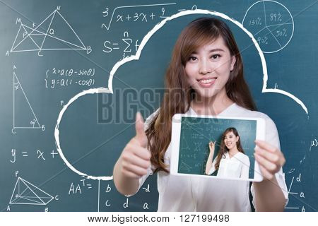 beautiful asian girl teacher with tablet and green blackboard