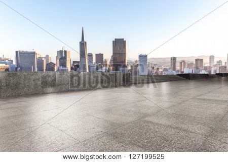 empty marble floor with cityscape and skyline of san francisco